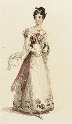 Evening dress, ca 1825 You've got a giant spider on your chest there, girl
