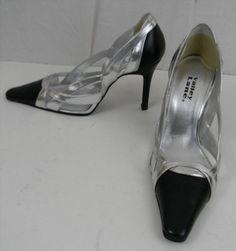 "24.74$  Watch here - http://virqt.justgood.pw/vig/item.php?t=111h8i033920 - Valley Lane Black Metallic Silver Womens 6 1/2 Shoes 3 1/4"" Heel Prom Wedding 24.74$"
