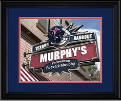 Your Name on a sign as proprietor of your Houston Texans NFL Fan Room or Game Room.