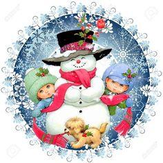 Snowman and children - Morehead Blue Christmas, Christmas Holidays, Christmas Scenes, Christmas Crafts, Merry Christmas, Christmas Decorations, Christmas Ornaments, Vintage Christmas Images, Christmas Pictures
