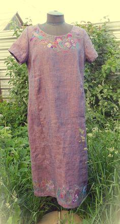 linen dress with hand-embroidered  платье льняное с ручной вышивкой