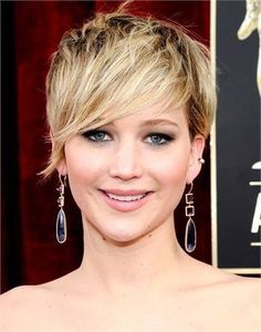 Jennifer Lawrence pixie cut with long fringe/bangs. My next look!
