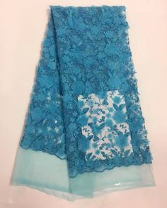 >> Click to Buy << Hot sale Gorgeous Floral french lace top grade African net lace tulle fabric with beads you are super star 5 yards sky blue #Affiliate
