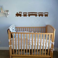 train wall decals above the crib