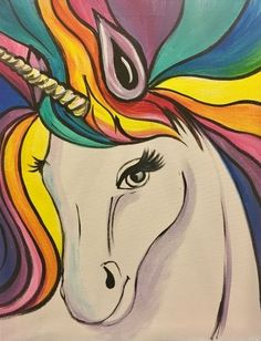 Rainbow The Unicorn at Yellowhead Inn - Jaffers Banquet Hall - Paint Nite Events near Edmonton, AB>