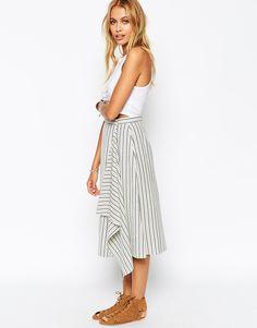 ASOS Midi Skirt in Stripe with Waterfall Drape