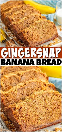 Gingersnap Banana Bread is a spiced banana bread recipe topped with crushed gingersnap cookies! The flavors meld into perfection in this incredible banana quick bread.#banana #bananabread #bread #quickbread #Gingersnap #easyrecipe from BUTTER WITH A SIDE OF BREAD