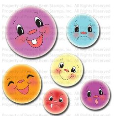 PK-486 In Stitches Face Assortment: Peachy Keen Stamps | Home of the original clear, peach-tinted, high-quality whimsical face stamps.