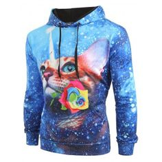 OMG Cat Flower Galaxy Print Kangaroo Pocket Hoodie #shoes #fashions