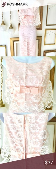 """Vintage Long Lace 60s Blush Pink Dress Gorgeous lace and blush pink 60s long dress featuring satin bow, scalloped edge white lace, tank straps, and floaty detail over waist.  Great for a wedding! Bride or guest!  Beautiful vintage condition, no rips, tears, or stains. No tag, most likely made by a talented dressmaker. Fits like 4.  Dimensions: Bust - 34"""" Waist - 26"""" Hips - 38"""" Length - 52"""" Dresses"""