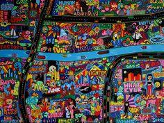 Nighttime Neon City Wasteland