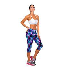 Pants Women1PC Women Sport Pants High Waist Fitness Printed Stretch Cropped Pantalones Mujer#3546