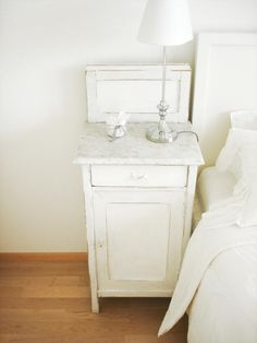 Bedside Table, Bedroom. Chalk Paint. White, Chippy, Shabby Chic, Whitewashed, Cottage, French Country, Rustic, Swedish decor Idea