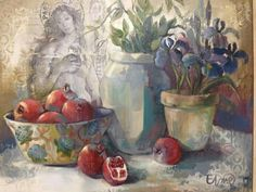 Food Painting, Painting Flowers, South African Artists, Plant Art, Garden Signs, Fruit Art, Pomegranate, Collage Art, Still Life
