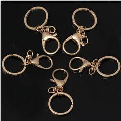 5Pcs Fashion Alloy Metal Key Ring Chain Keychain Gift Silver/Gold