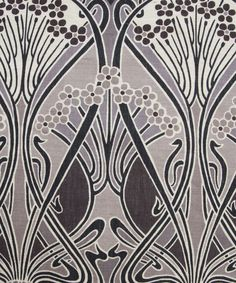 Grey Ianthe print by Liberty of London Furnishing Fabrics.Famous art nouveau pattern.