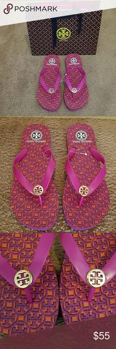 Tory Burch pink flip flops Tory Burch pink flip flops with gold logo. Brand new and never used. Includes Tory Burch shopper! Tory Burch Shoes Sandals