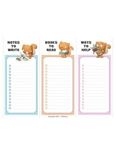 6 little checklists for reminders or home chore lists for kids.
