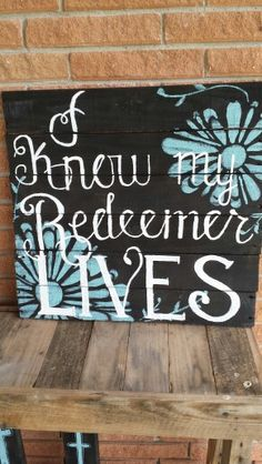Bible verse on black and flowers with reclaimed wood from VersesRusticDecor on Etsy.  Easter Sign Pallet Sign