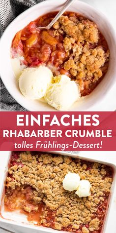 This easy rhubarb crisp is the best spring dessert out there! Quick and easy to bake with mostly pantry staples (can use frozen rhubarb!), this is a recipe you don't want to miss. Great for Easter, too! Spring Desserts, Spring Recipes, Fun Desserts, Dessert Recipes, Easter Recipes, Easter Food, Ruhbarb Recipes, Healthy Recipes, Easy Rhubarb Recipes