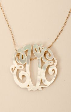 Soixante Neuf Small Mother of Pearl Monogram Necklace
