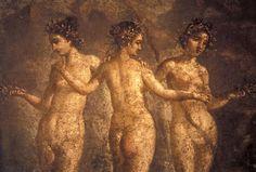 """The Three Graces   """"Les trois Grâces"""" : Aglaé (Beauté), Euphrosyne (Gaieté) et Thalie (paix de l'âme).  Détail. De Pompéi, maison de T. Deutatus Panthera."""