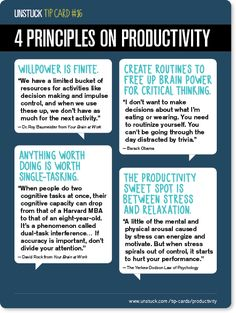 Unstuck Advice: Science-Based Principles of Productivity
