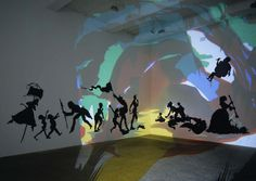 Kara Walker, 'Darkytown Rebellion', 2001, cut paper & projection on wall, 180 x 396 inches. Installation view at Brent Sikkema Gallery, New York, 2001. Photo by Erma Estwick. Image courtesy the artist, from sikkemajenkinsco.com.