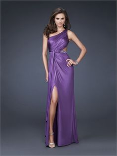 Column One-shoulder with Pleated Bodice and Beaded Waistline Long Prom Dress PD10964 www.dresseshouse.co.uk $112.0000