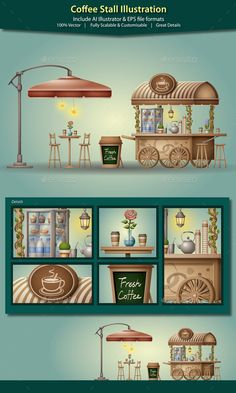 Coffee Stall Illustration - Retail Commercial / Shopping