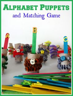 Make these easy alphabet puppets and use them in a fun matching game to practice letter recognition, letter sounds, or sight words.