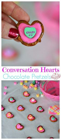 Conversation Hearts Chocolate Pretzels for a Fun Valentine's Treat - Easy to make and so cute! Perfect for parties, snack or dessert! www.kidfriendlythingstodo.com