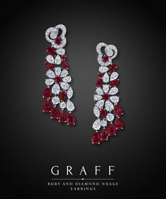 Graff Diamonds: Ruby and Diamond Nuage Earrings | You can see the Rest of the Outfit and my Remarks on this board. - Gabrielle