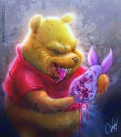 Winnie The Pooh and Piglet, Too by Pancho Vasquez Disney Horror, Horror Cartoon, Zombie Cartoon, Zombie Disney, Childhood Characters, Cartoon Characters, Cartoon Kunst, Cartoon Art, Arte Horror