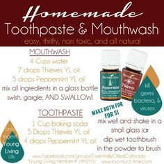 Homemade all natural toothpaste and mouthwash using Young Living essential oils from Too Much Time on My Hands copy Yl Essential Oils, Young Living Essential Oils, Essential Oil Blends, Yl Oils, Homemade Mouthwash, Homemade Toothpaste, All Natural Toothpaste, Dental, Tips