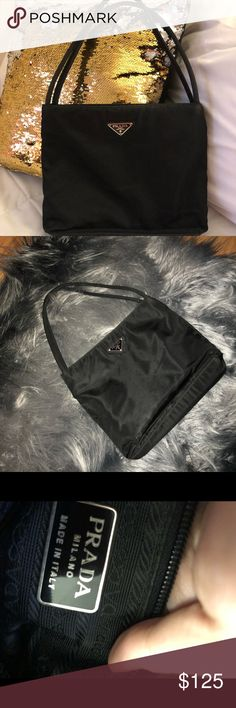 Authentic Prada Black Nylon Handbag 🎄 Gorgeous condition 100% Authentic ! Clean interior and exterior ! Will take best offers on this Bag it's medium in size ! Prada Bags Shoulder Bags