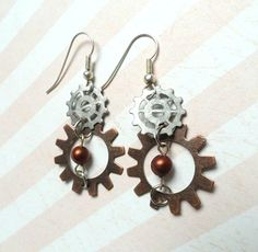 Steampunk Earrings  Steampunk Jewelry  by AmberIlysSteamcrafts, $15.00