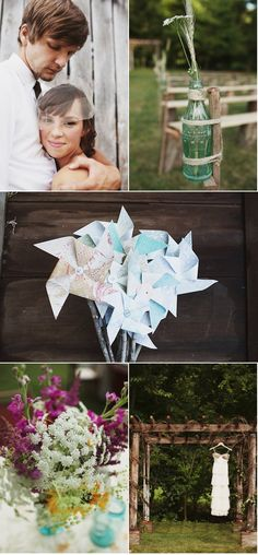 Love the coke bottles with simple flowers. Could we find wildflowers on site to put in coke bottles?! Natural twine to tie them would be great!