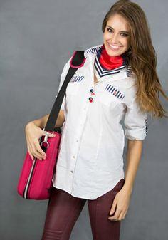 Marina Roll-Tab Sleeve Shirt, Casual Marine look blouse Marine Blue, Boyfriend Shirt, Shirt Sleeves, Shirt Blouses, Casual Looks, Casual Shirts, Stylish, Model, Cotton