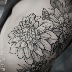 ideas tattoo flower sleeve alex tabuns for 2019 Weird Tattoos, Top Tattoos, Trendy Tattoos, Popular Tattoos, Body Art Tattoos, Tatoos, Alex Tabuns, Dahlia Flower Tattoos, Flower Tattoo Designs