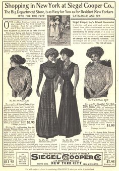 1909 c ad siegel cooper co clothing catalogue