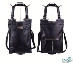 Designer Sleek Black Leather Cross Body Bag For Women