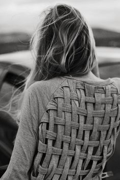 DIY:  Cut and reweave the back of a shirt :) super cute! - Click image to find more DIY & Crafts Pinterest pins