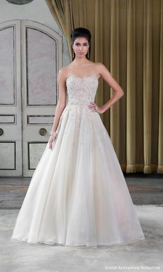 Justin Alexander Signature Spring 2016 Wedding Dresses | Wedding Inspirasi | Beautiful A-Line Wedding Gown With A Gorgeous, Strapless, Beaded Bodice Featuring A Semi Sweetheart Neckline, Full Silk Organza/Tulle Skirt With A Chapel+ Length Train; (Front/Full View)****