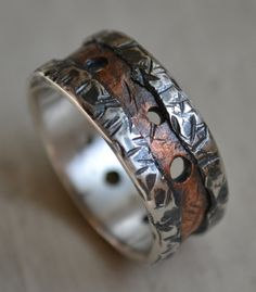 rustic fine silver and copper ring handmade by MaggiDesigns, $275.00