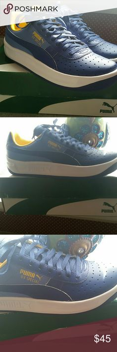 Puma Gv Special In Mazarine Blue! NWT A Beautiful pair of Puma Gv Special Leather Sneakers in Size 6 Youth Or -8 in Womans. .These are a Beautiful Shades of Blue With Yellow Accents...Gorgeous and New in Their Box;-) Puma Shoes Sneakers