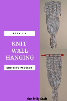 Make a simple knit wall hanging using jumbo yarn and giant knitting needles. The project takes less than an hour and can be completely customized. Paper Flower Tutorial, Paper Flowers Diy, Paper Crafts For Kids, Crafts To Make, Diy Crafts, Mason Jar Crafts, Mason Jar Diy, Giant Knitting, Budget Crafts