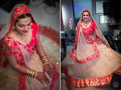 Beautiful bride in a off-white,red bordered lehenga | Photo Credits : The Con artists
