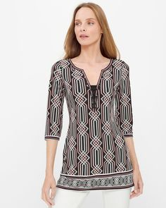 "Make a graphic statement in this electrifying tunic that breaks away from the expected. Of-the-moment lace-up detailing and a modern print make this tunic a crowd pleaser – day or night. Three-quarter sleeve printed tunic Polyester/spandex. Machine wash cold Approx. 25 3/4"" from shoulder Imported>"