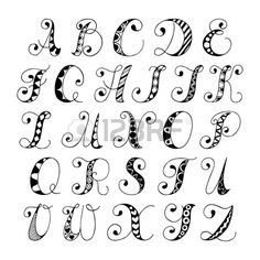 Sketch hand drawn alphabet black and white font letters isolated vector…
